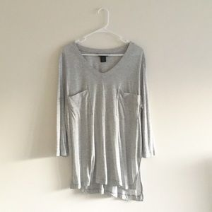 Calvin Klein Jeans Asymmetrical Gray Oversized Tee